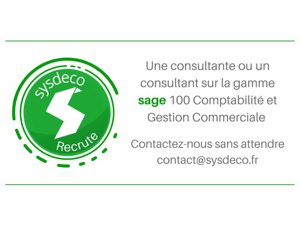 sysdeco recrute consultant Sage 100